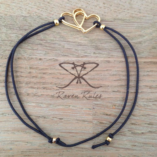Raven Rules Gold Hearts Antraciet