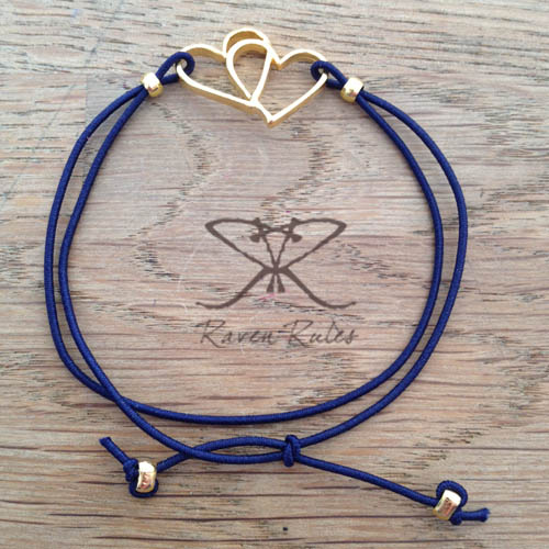 Raven Rules Gold Hearts Blue