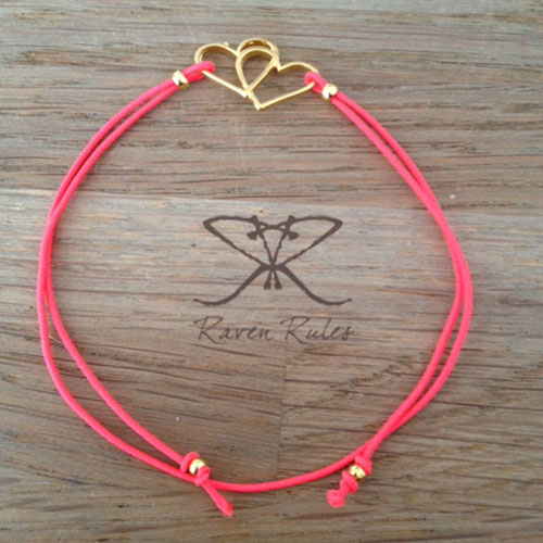 Raven Rules Gold Hearts Neon Pink