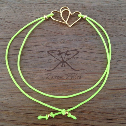 Raven Rules Gold Hearts Neon Yellow