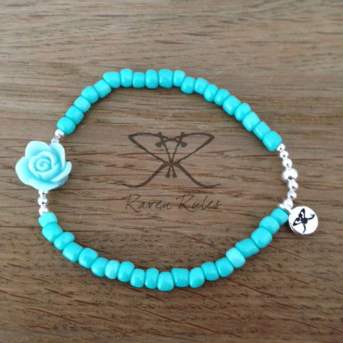 Raven Rules Roses Turquoise Silver