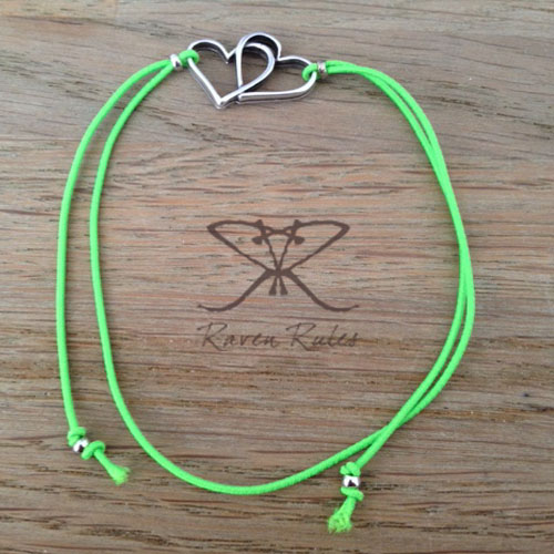 Raven Rules Silver Hearts Neon Green