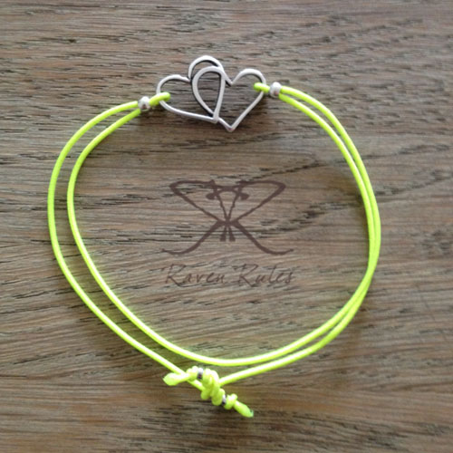 Raven Rules Silver Hearts Neon Yellow