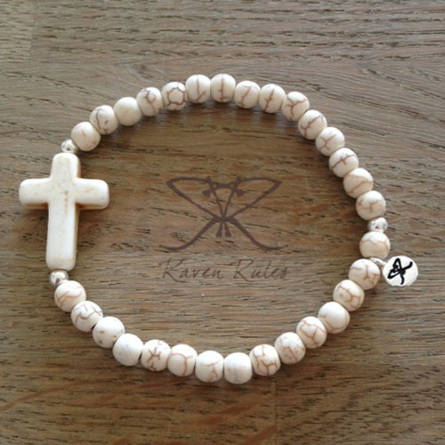 Raven Rules Cross Beige Silver