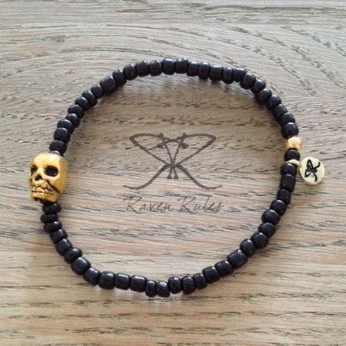 Raven Rules Skull Gold Black