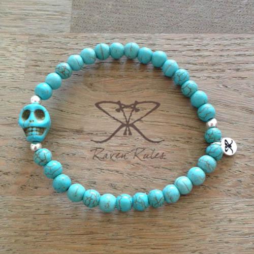Raven Rules Skull Turquoise